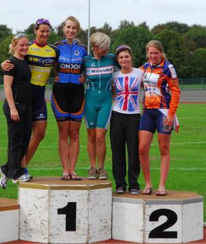 Jayne on the podium at Scunthorpe