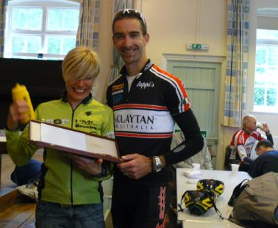 Dulcie Walker trophy winner Roger Prior receives the trophy from Jayne Paine (Paul Doel does his Jimmy Durante impression in the background)